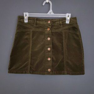 FOREVER 21 Corduroy Mini Skirt Forest Green Button Preppy Fall Winter Cute 30